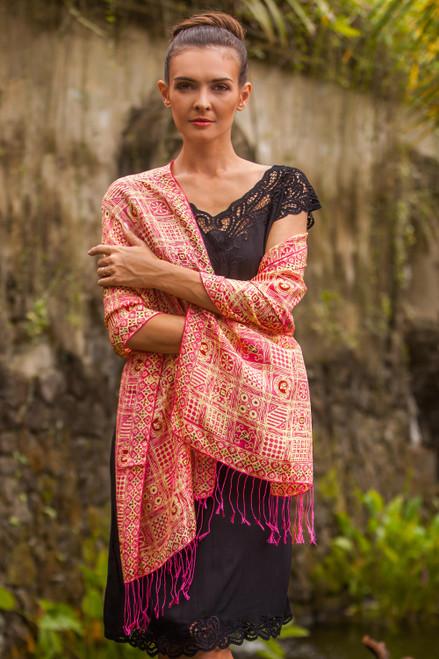 Pink Hand Dyed Batik Silk Shawl with Ceplok Motif from Java 'Ceplok Temple Fuchsia'