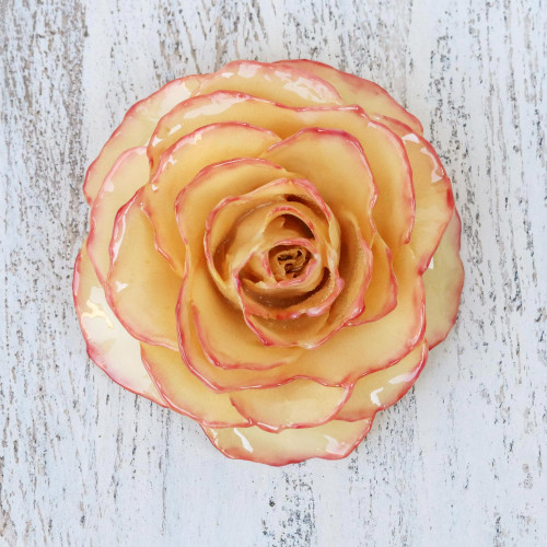 Artisan Crafted Natural Rose Brooch from Thailand 'Rosy Mood'
