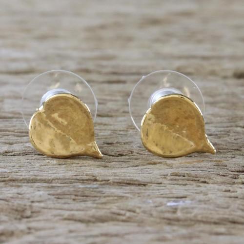 Gold Plated Natural Million Hearts Leaf Stud Earrings 'Heartfelt Nature'