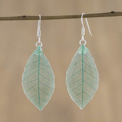 Natural Leaf Dangle Earrings in Jade from Thailand 'Stunning Nature in Jade'