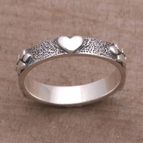 Sterling Silver Heart and Paw Print Ring from Bali 'Paws for Love'