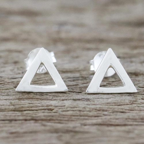 Handcrafted Sterling Silver Triangle Stud Earrings 'Silver Triangles'