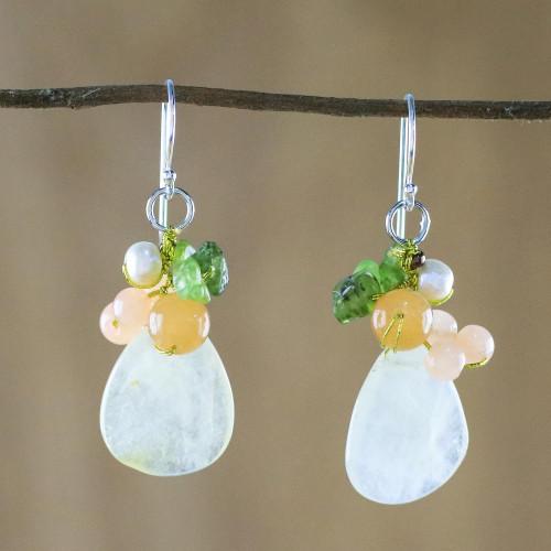 Quartz Multi-Gemstone Dangle Earrings from Thailand 'Soft Drops'