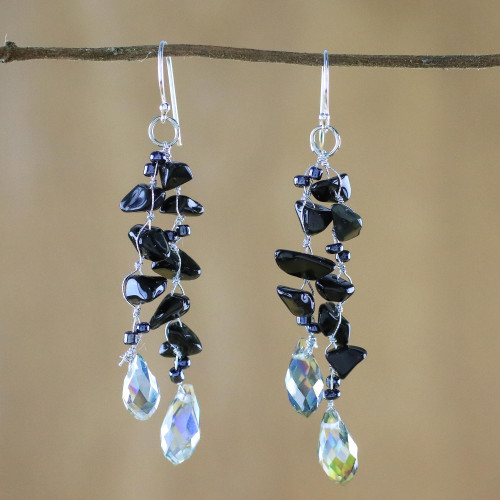 Onyx and Glass Bead Dangle Earrings from Thailand 'Crystalline Drops'