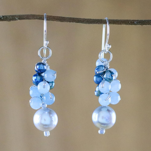 Cultured Pearl and Quartz Dangle Earrings from Thailand 'Happy Bunch'