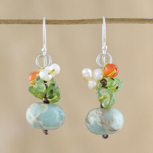 Multi-Gemstone Dangle Earrings in Blue from Thailand 'Exotic Cluster in Blue'