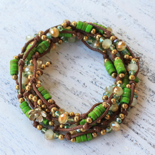 Green Calcite Beaded Wrap Bracelet from Thailand 'Forest Party'
