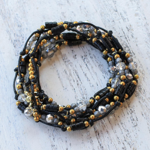 Black Beaded Wrap Bracelet from Thailand 'Night Party'