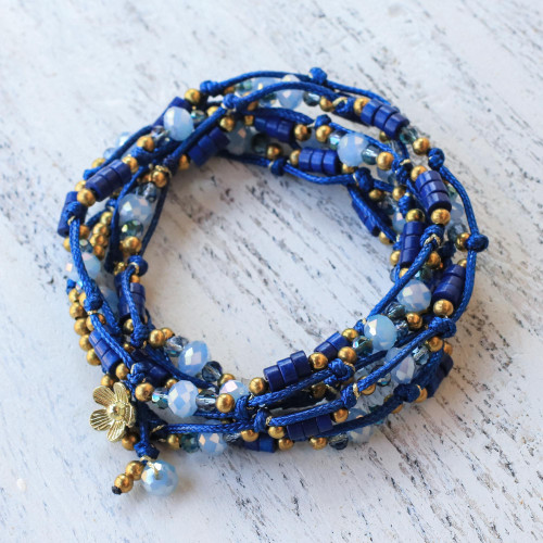 Blue Calcite and Glass Beaded Wrap Bracelet from Thailand 'Holiday Party'