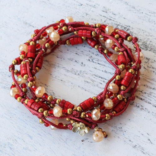Calcite and Glass Beaded Wrap Bracelet in Red from Thailand 'Passionate Party'