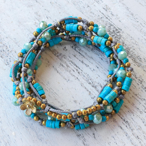 Light Blue Calcite Beaded Wrap Bracelet from Thailand 'Ocean Party'