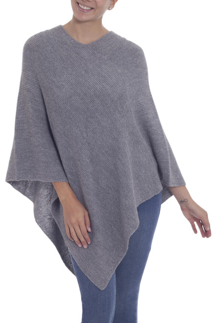 Knit Grey 100 Alpaca Poncho from Peru 'Enchanted Evening in Smoke'