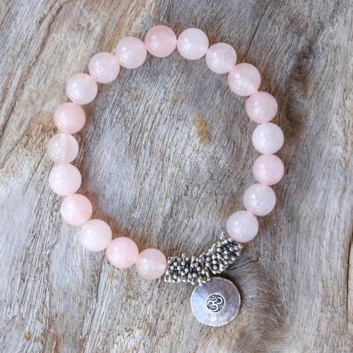 Rose Quartz Beaded Bracelet with Karen Silver Om Charm 'Rosy Charm'