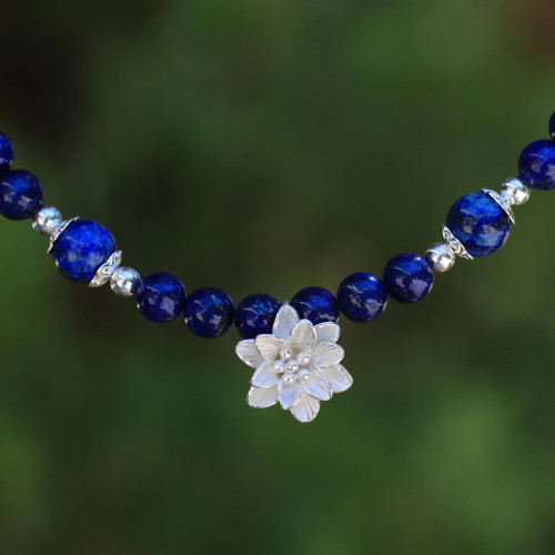 Lapis Lazuli Beaded Necklace with Karen Silver Lily Pendant 'Sophisticated Lily'