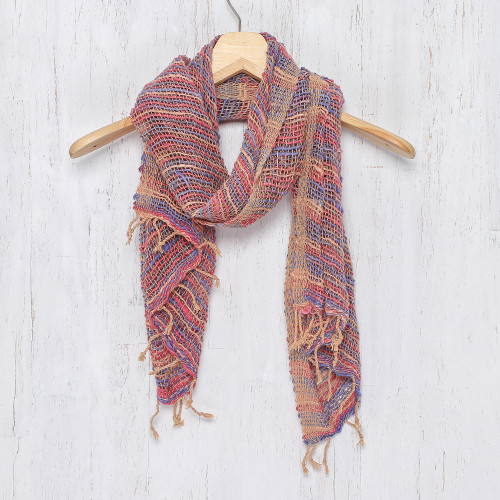 Handwoven Cotton Scarf with Candy Colors from Thailand 'Charming Candy'
