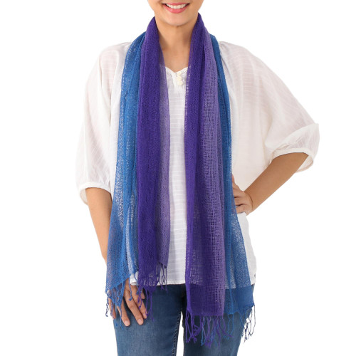 Handwoven Purple and Blue Cotton Scarf from Thailand 'Iris Mood'