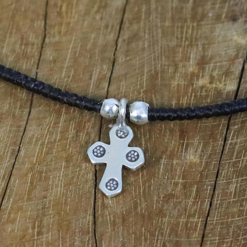 Karen Silver Cross Pendant Necklace from Thailand 'Christian Karen'