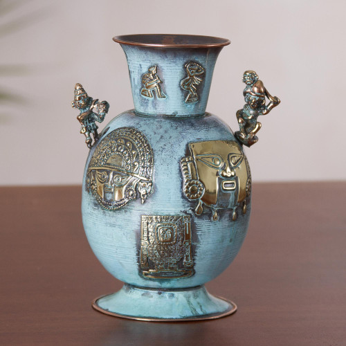 Copper and Bronze Antiqued Decorative Vase from Peru 'History of Warriors'