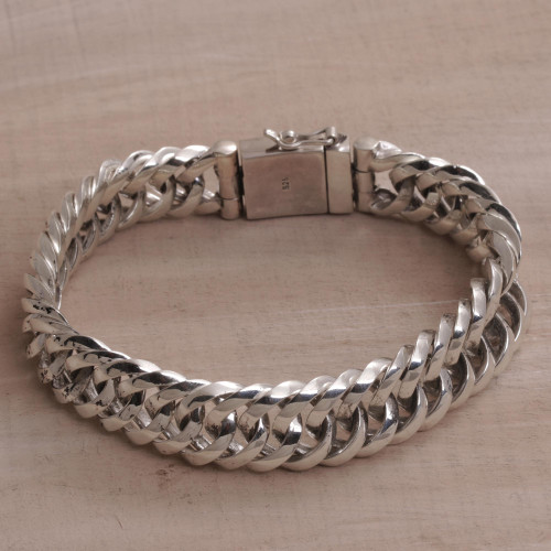 Artisan Crafted Sterling Silver Chain Bracelet from Bali 'Glimmering Links'