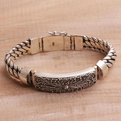 925 Sterling Silver Balinese Pendant Bracelet 'Heavenly Bloom'