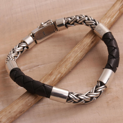 Men's Sterling Silver and Leather Bracelet from Bali 'One Strength'