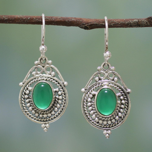 Handmade Sterling Silver and Green Onyx Earrings from India 'Jungle Queen'