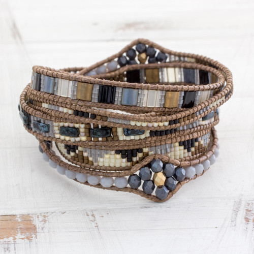 Colorful Glass Beaded Wrap Bracelet from Guatemala 'Country Travels'