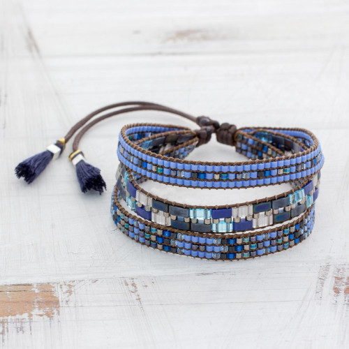 Adjustable Glass Beaded Wristband Bracelet from Guatemala 'Soul of the Clouds'