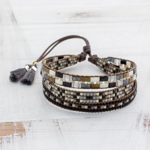 Adjustable Glass Beaded Wristband Bracelet from Guatemala 'Soul of Serenity'