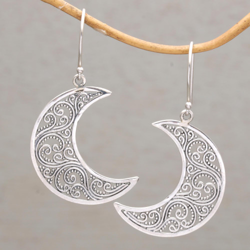Sterling Silver Crescent-Shaped Dangle Earrings from Bali 'Crescent Vines'