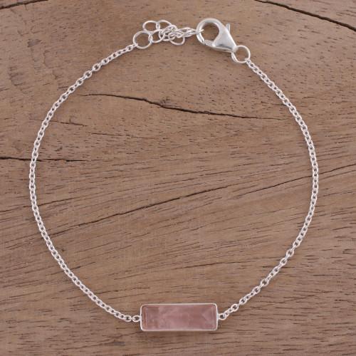 Rose Quartz and 925 Silver Pendant Bracelet from India 'Elegant Prism'