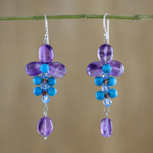 Amethyst and Calcite Dangle Earrings from Thailand 'Succulent Vines'
