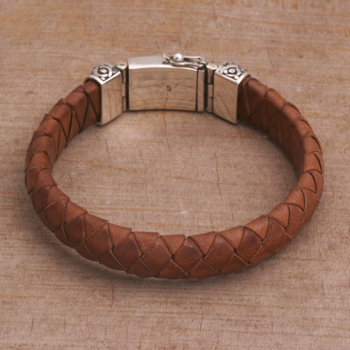 Men's Leather Braided Wristband Bracelet in Brown from Bali 'Tranquil Weave in Brown'