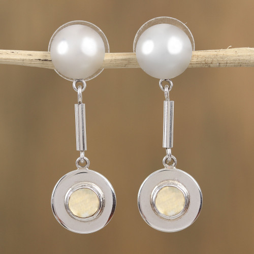 Mexican Taxco Silver Dangle Earrings with Citrine Cabochons 'Taxco Shine'