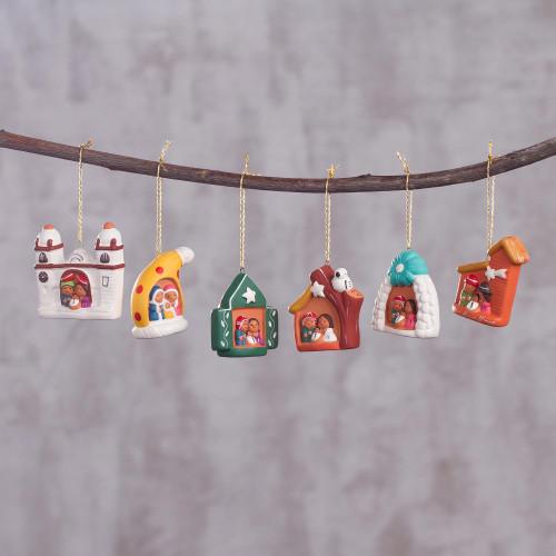 Six Ceramic Nativity Scene Ornaments Hand-Painted in Peru 'Local Nativity'