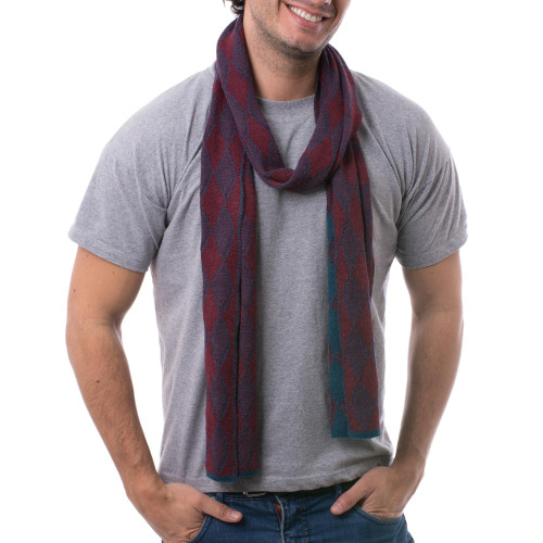 Men's Alpaca Blend Scarf in Teal and Cherry from Peru 'Diamond Sophistication'