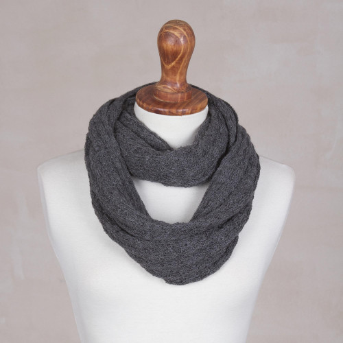 100 Baby Alpaca Infinity Scarf in Graphite from Peru 'Subtle Style in Graphite'