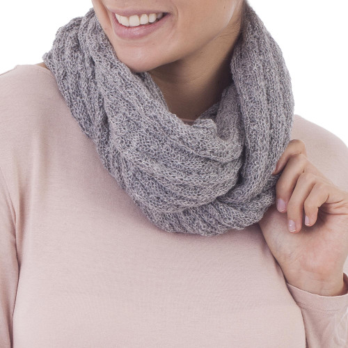 100 Baby Alpaca Infinity Scarf in Dove Grey from Peru 'Subtle Style in Dove Grey'