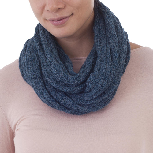 100 Baby Alpaca Infinity Scarf in Teal from Peru 'Subtle Style in Teal'