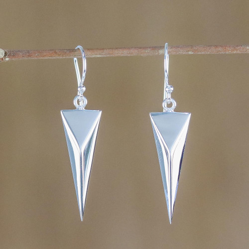 Sterling Silver Triangular Dangle Earrings from Thailand 'Chic Triangles'