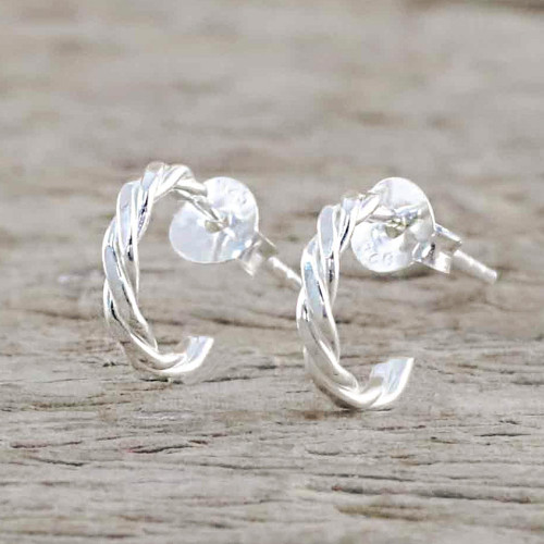 Thai Artisan Crafted Sterling Silver Half Hoop Earrings 'Intricately Minimal'