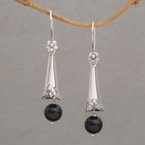 Onyx and Sterling Silver Floral Dangle Earrings from Bali 'Floral Cones'