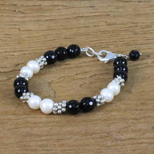 Onyx Silver and Cultured Pearl Bracelet from Thailand 'Magical Karen'