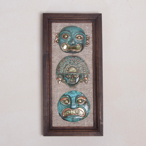 Copper and Bronze Ancient Mask Wall Sculpture from Peru 'Warriors of the Past'