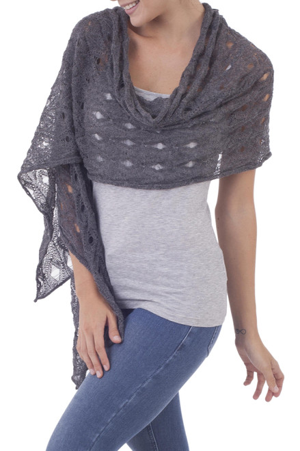 100 Baby Alpaca Knit Shawl in Graphite from Peru 'Breezy Skies in Graphite'