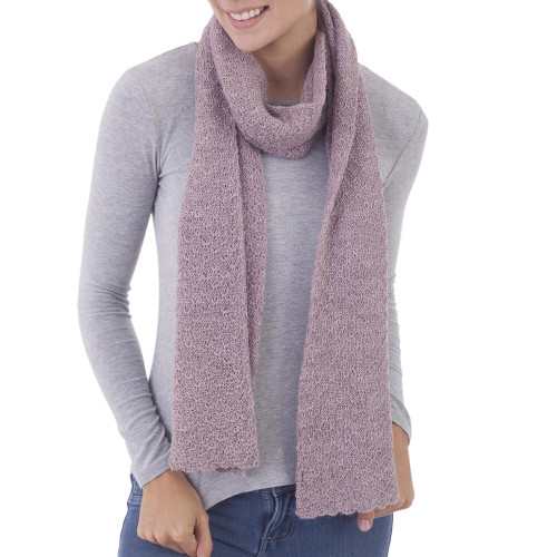 100 Baby Alpaca Wrap Scarf in Solid Dusty Rose from Peru 'Solid Style in Dusty Rose'