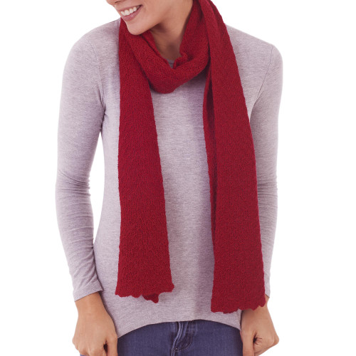 100 Baby Alpaca Wrap Scarf in Solid Crimson from Peru 'Solid Style in Crimson'