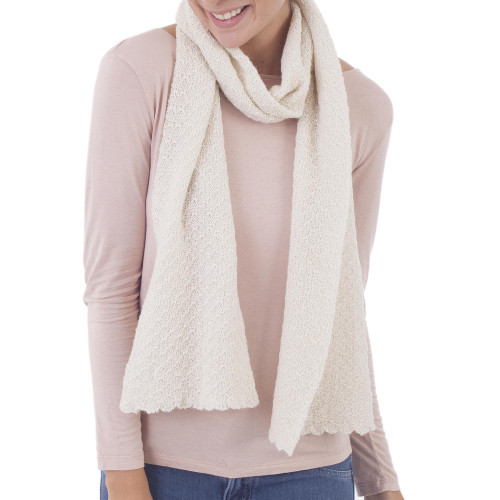 100 Baby Alpaca Wrap Scarf in Solid Eggshell from Peru 'Solid Style in Eggshell'