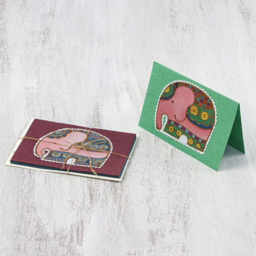 Four Cotton and Paper Elephant Greeting Cards from Thailand 'Friendly Elephants'