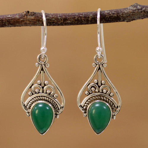 Green Onyx and Sterling Silver Dangle Earrings from India 'Crowned Drops'